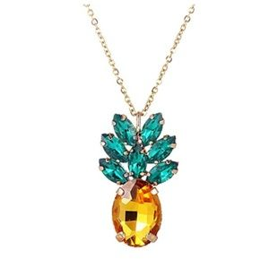 Jewelry - Sparkly Yellow Pineapple Necklace Vintage Jewelry